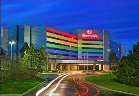 Image of the Sheraton Detroit Novi with LGBTQA Rainbow Coloring
